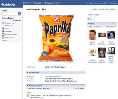 Zweifel Chips Fans Social Network Facebook
