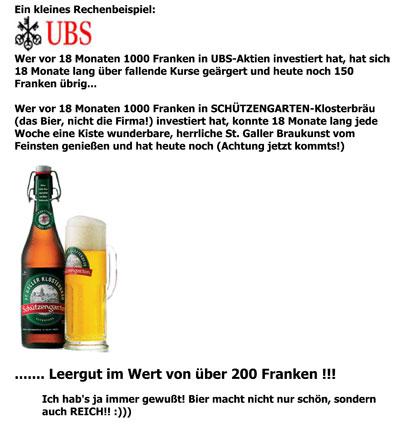 Bier Sch?¼tzengarten Viral Marketing UBS E-Mail aktuell