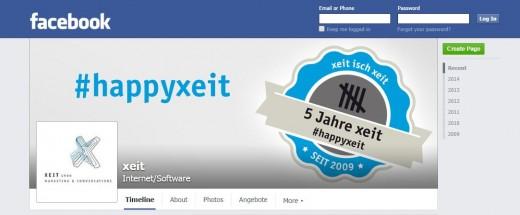 Die Unternehmens-Seite von xeit auf Facebook