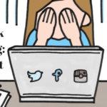 Das Bild zeigt eine Zeichnung einer Frau, die sich die Hände vor dem Gesicht hält aus Frust. Vor ihr ist ein Laptop gezeichnet mit den Logos von Twitter, Facebook und Instagram drauf geklebt. Neben... </div>  <div class=